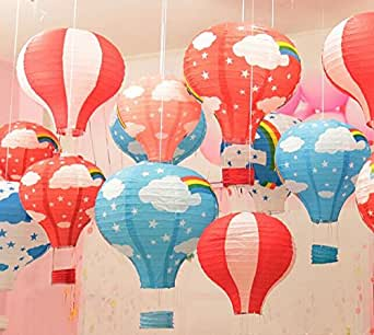 Hot air balloon paper lantern chinese japanese paper lamps for Balloon string decorations