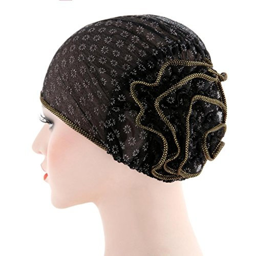 Manxivoo Women Muslim Stretch Turban Hat,2018 Chemo Cap Hair Loss Head Scarf Wrap Cap (Black)