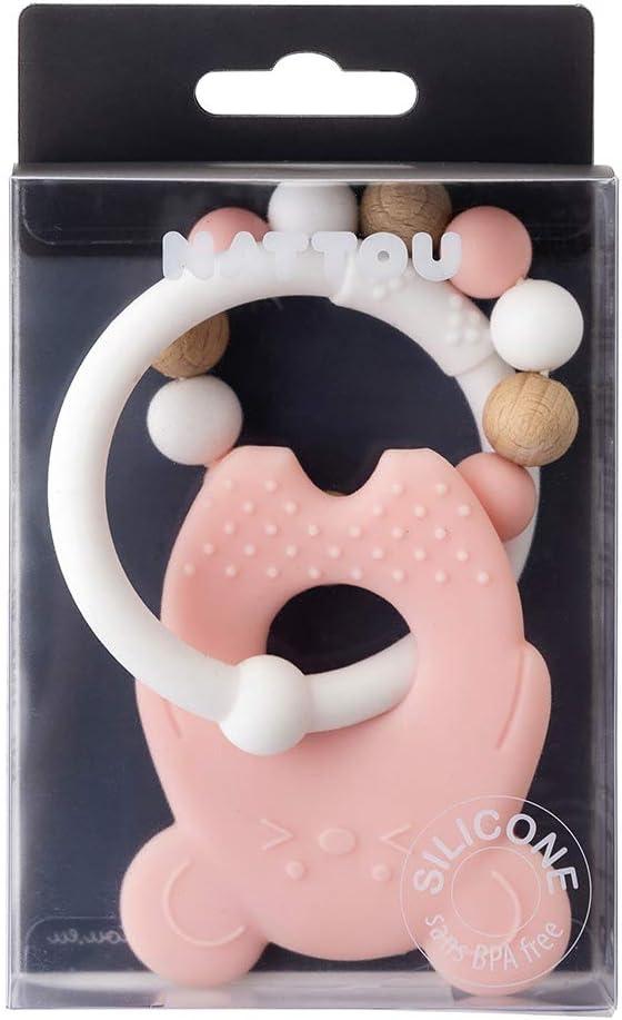 Nattou Anneau de Dentition en Silicone et Bois Sans BPA 8 x 10 x 14 cm Fraise et Canard Rose