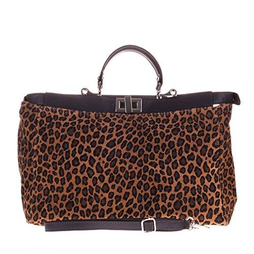 FIRENZE ARTEGIANI.Bolso TOTE de mujer piel auténtica.Bolso de viaje cuero genuino animal print leopardo mate. Detalles Savage. MADE IN ITALY. VERA PELLE ITALIANA. 44x27x14 cm. Color: LEOPARDO/MARRON