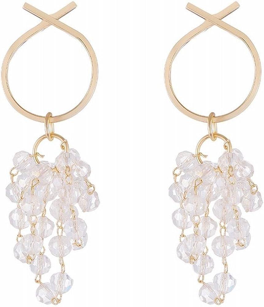 Ling Studs Earrings Hypoallergenic Cartilage Ear Piercing Multi-Layer Crystal Wrapped Tassel Earrings Fashion Metal Circle Earrings Earrings