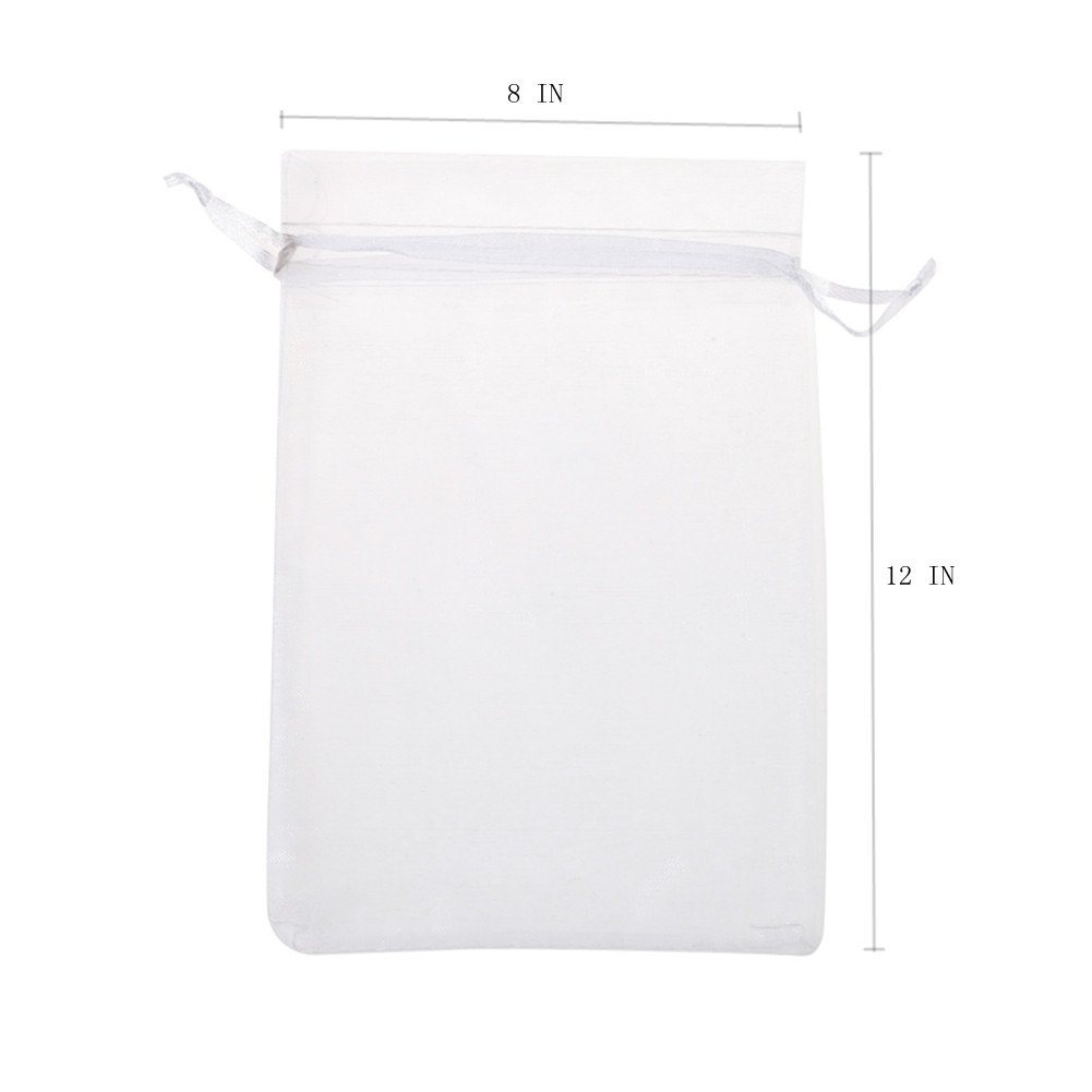 KUPOO Pack of 50PCS 8x12 Inch Organza Drawstring Gift Bag Pouch Wrap for Party/Game/Wedding (White)