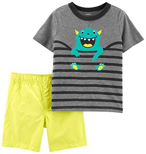 Carters Moose - Carter's Toddler Boys Stripe Monster Shorts Set 4T Grey/Yellow/Black