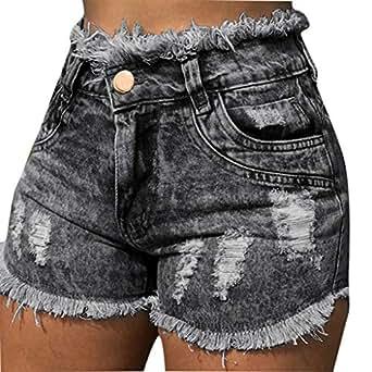 Amazon.com: SNOWSONG Women High Waisted Jeans Shorts Denim ...