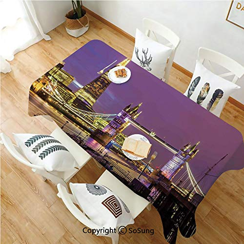 London Rectangle Polyester Tablecloth,Tower Bridge in London at Night Historical Cultur Monument Europe British Urban Decorative,Dining Room Kitchen Rectangle Table Cover,70W X 90L inches,Purple Yello -