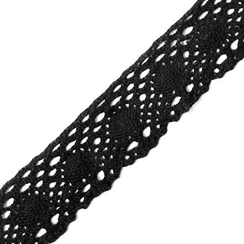 - 5-Yards Vintage Cotton Cluny Lace Trim, 1-1/4 Inch, TR-11085 (Black)