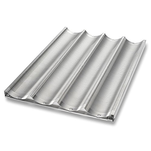 Chicago Metallic 49034 Baguette/French Bread Pan, Uni-Lock, Makes (4) 3.88'' x 25.75'' Loaves, Glazed 16-ga. Aluminum by TableTop King (Image #1)