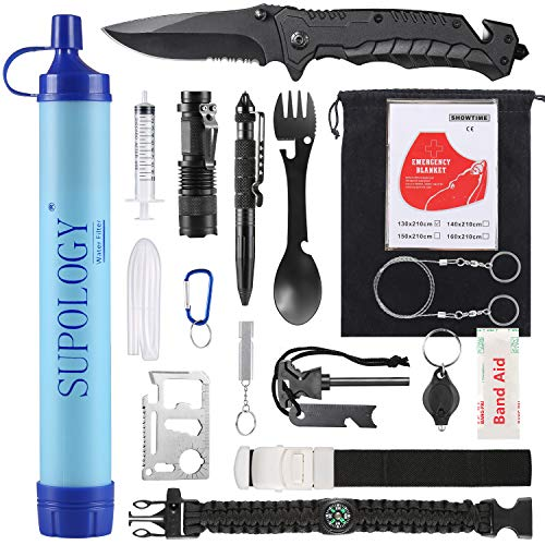 SUPOLOGY Emergency Survival Gear Kits -23 in 1 Outdoor Tactical Tools for Hiking/Adventures/Climbing Necessary - Water Filter,Flashlight,Tactical Pen,Spoon Fork,Survival Bracelet, Fire Starter ect. (Knifes Survival Kit)