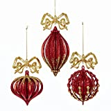Kurt Adler RED AND GOLD GLITTERED FINIAL, ONIONAND BALL WITH BOW ORNAMENT - 3 ASSORTED