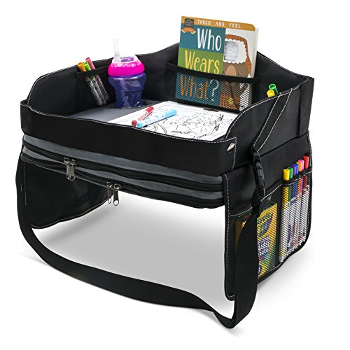 - Kids Travel Lap Tray and Desk - Car Seat, Booster Chair, Airplane, Portable, Play Activity Table with Storage - Folding, Travel Snack Trays with Cup Holder for Children