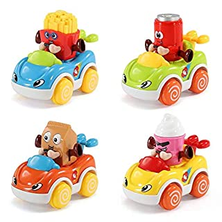 Baby Toy Cars for 1 Year Old Toddler - Birthday Gift Toy Cars Wind up 4 Pull Back Cartoon Vehicles