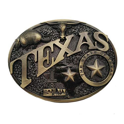(Modern Texas Belt Buckle Brass Heritage Western Star Bull Buckles Cowboy)