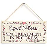 123RoyWarner Quiet Please Spa Treatment In Progress - Pretty Love Heart Frame Design Sign Plaque