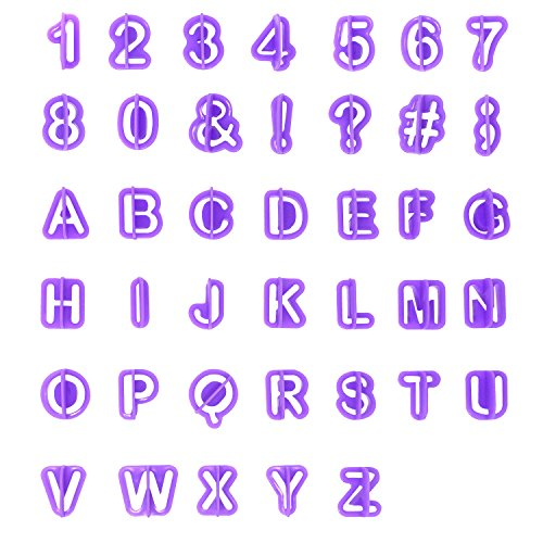 Honbay 40PCS Purple Alphabet Number Cutter Set Cut Outs Molds Set for Fondant Cake and Biscuit Cookie