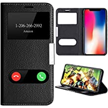 iPhone X Case, Genuine Leather Flip Case Cover for iPhone X Window View Stand Feature Ultra Thin Magnet Closure iPhone X Case by Make mate (Black)