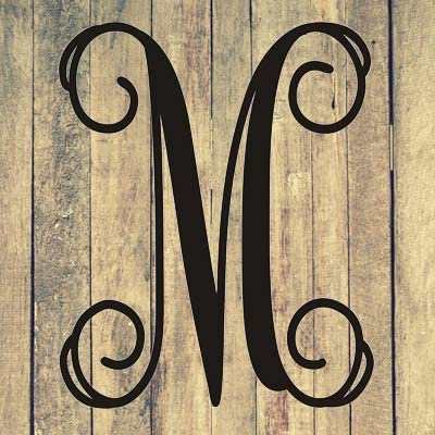 Monogram Letter Approximately 20 T X 18 W Door or Wall Inside or Outside M