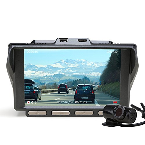 Dual Vision Screen (Z-EDGE S4 Dual Dash Cam, 4.0 Inch IPS Ultra HD 1440P Front & 1080P Rear 150° Wide Angle Lens Dashboard Camera Recorder, 360° Rotated Rear View Camera with Night Mode, WDR and 32GB Card Included)