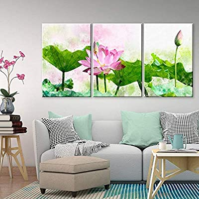 Created Just For You, Fascinating Work of Art, 3 Panel Watercolor Style Green Lotus Leaf and Pink Lotus Flower x 3 Panels