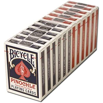 BICYCLE PINOCHLE PLAYING CARDS 12 DECKS, 6 RED 6 BLUE by Bicycle