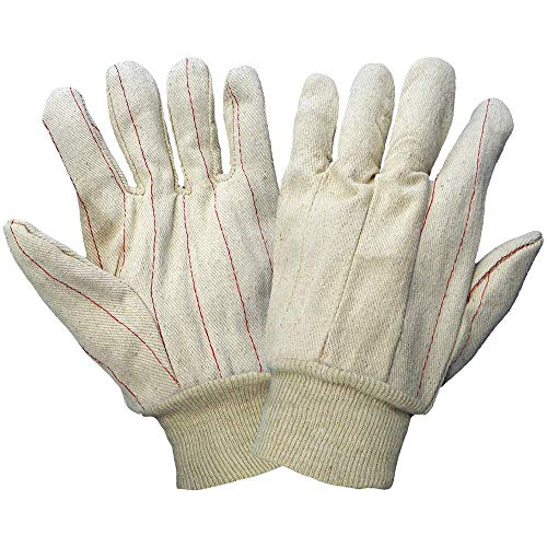 Global Glove C18DP Cotton Corded Canvas Double Palm Glove, Work, Large, Natural (Case of 144) ()