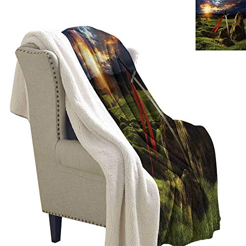 King Berber Fleece Blanket Arthur Camelot Legend Myth in England Ireland Fields Invincible Myth Image Print Summer Quilt Comforter 60x47 Inch Green Blue and Red (Camelot Twin Bed)