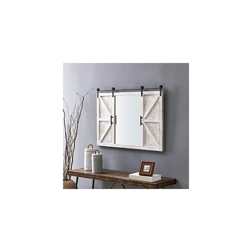 FirsTime & Co. Hayloft Farmhouse Barn Door Mirror, American Crafted, White, 36 x 2 x 24