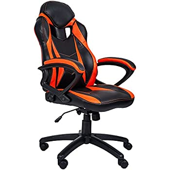 Merax PP033237 Ergonomic Racing Style PU Leather Gaming Chair for Home and Office (Orange)