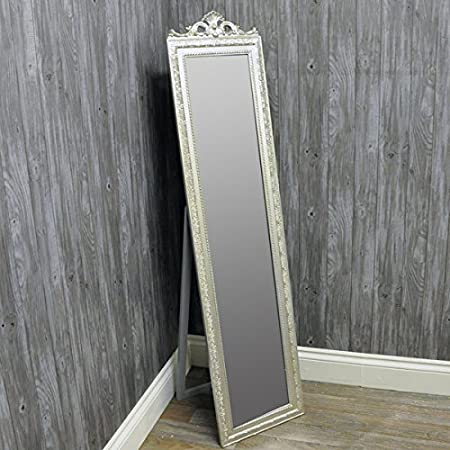 French Style Silver Ornate Cheval Floor Full Length Free Standing ...