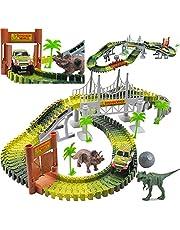 deAO Elektrische Miniatuur Race Aute Baan Set Jurassic Dino Wereld Flexibele Race Baan, Houten Bruk, Bal & Auto met Licht Speel Set