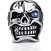Elfasio Men's Stainless Steel Ring Band Silver Skull Blue Eye Cubic zirconia Jewelry Size 8-15