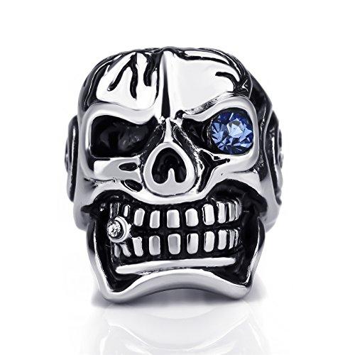 Elfasio Men Skull Ring Blue Eye Cubic Zirconia CZ Stainless Steel Jewelry Size 14