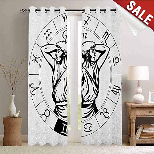 (Flyerer Zodiac Gemini, Decor Curtains by, Monochrome Zodiac Wheel and Male Twins in Ancient Greek Style Clothes, Room Darkening Wide Curtains, W72 x L96 Inch Black and White)