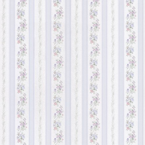 Brewster 414-56031 Princess Light Blue Floral Stripe Wallpaper ()