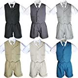 4pc Boy Infant Baby Formal Party Wedding Eton Vest Shorts Suit set Size Sm-4T (4T, Light Khaki)