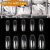 Clear Coffin Nails - 500pcs Ballerina Long False Nails BTArtbox Full Cover Acrylic Fake Nails Tips 10 Sizes