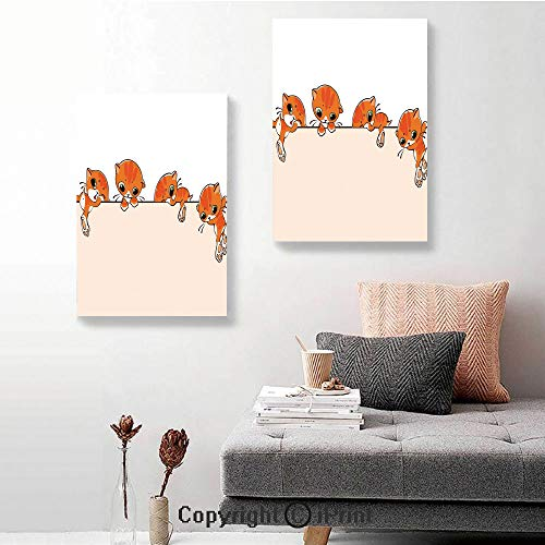 Map Canvas Mural Banner - SfeatruRWF Canvas murals,Banner with Little Kitties Felines Over Jumping The Walls Free Artful Design,16