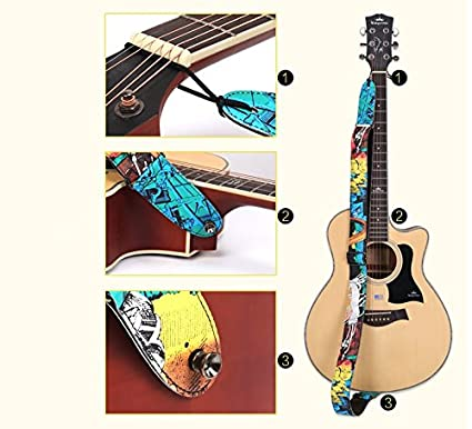 Royal Canvas strap guitar shift inkjet canvas colorful leather metal ring dynamic folk-rock guitar