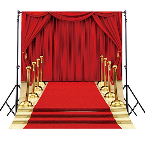Riyidecor Red Carpet Backdrop Luxurious Stage Photography Background Glitter Gold and Red 5x7 Feet Decoration Celebration Props Party Photo Shoot Backdrop Blush Vinyl Cloth ()