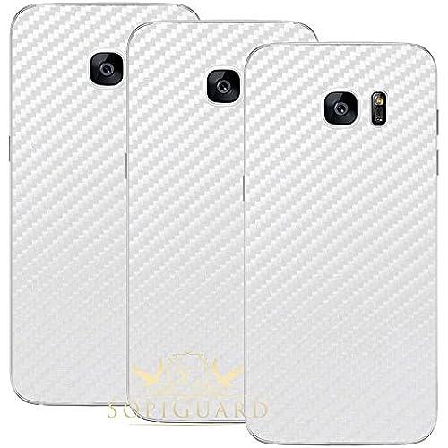 SopiGuard Triple Pack Carbon Fiber Skin Back Side for Samsung Galaxy S7 Edge (3 X White) Sales