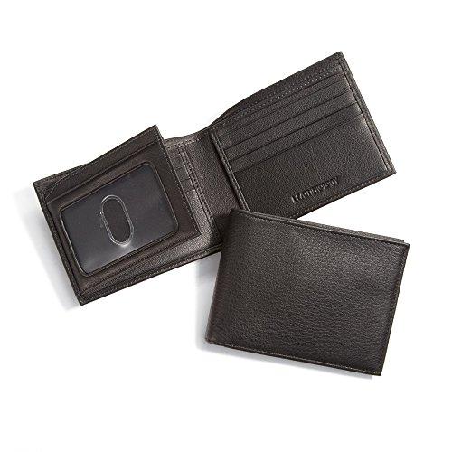 Leatherology Men's Bifold Wallet with Card Flap ID Window - RFID Available - Full Grain Leather - RFID Black Onyx (black) by Leatherology