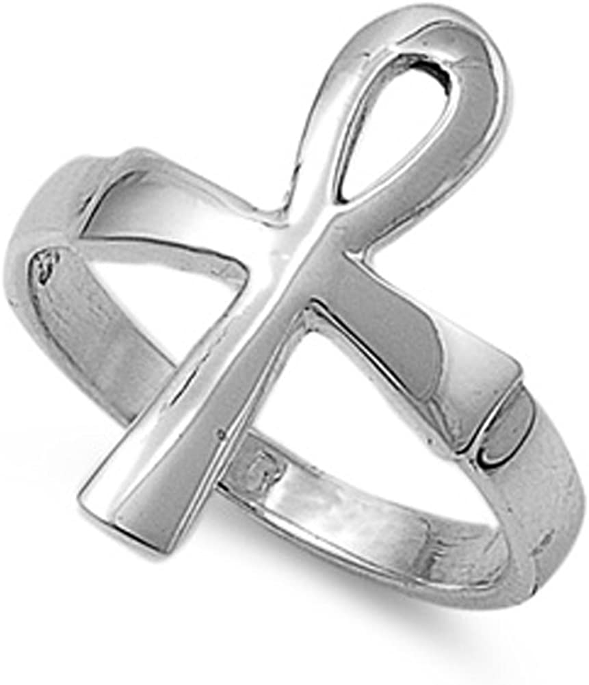 USA Seller Ankh Cross Ring Sterling Silver 925 Best Deal Plain Jewelry Size 3