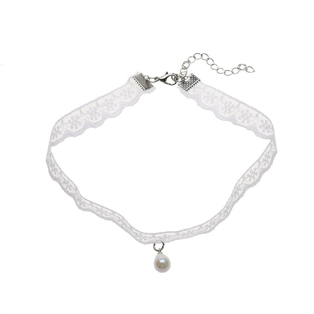 Diamondo Female Vintage Lace Pearl Clavicle Choker Necklace (1)