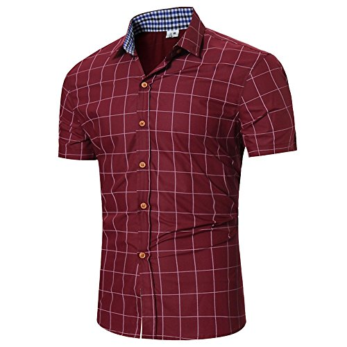 Shirt Short Sleeve Button Down Casual Pliad Top Fit Slim Blouse Business Shirt Men (M,Wine -