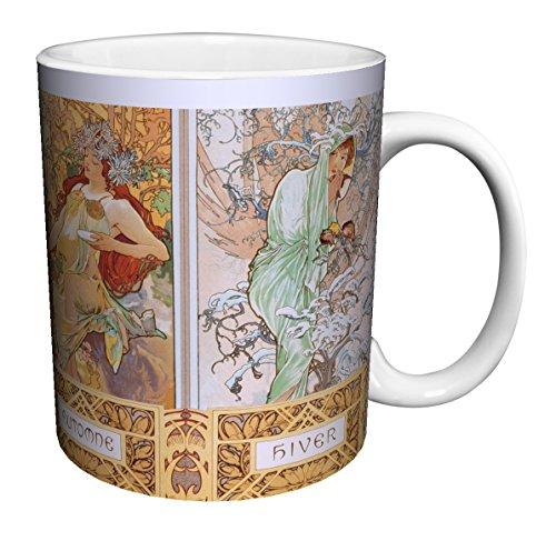 (Alphonse Mucha Four Seasons (Les Saisons) Art Nouveau Ceramic Gift Coffee (Tea, Cocoa) 11 Oz. Mug)