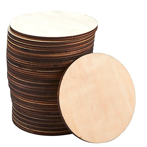 Wood Coasters - 24-Pack Round Wooden Drink Coasters, Unfinished Wood Circle Cup Coasters for Home Kitchen, Office Desk, 3.875 Inches Diameter