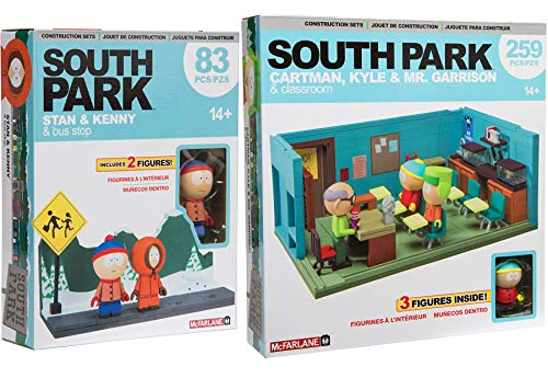 AYB School Bus Stop Bundle Cartman South Park Cartoon Building Toy Classroom Mr. Garrison / Kyle + Kenny & Stan 2 Pack by AYB