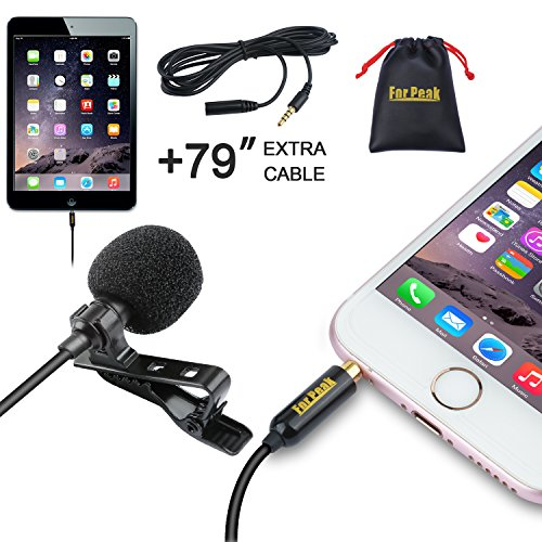Lavalier Lapel Microphone Omnnidirectional Condenser Mic with Clip on System for iPhone iPad Android Windows Smartphones Recording Youtube Interview Podcast ASMR