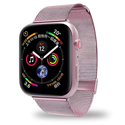 AWOOWELL for Watch Band 38mm 40mm,Stainless Steel Mesh Metal Loop with Adjustable Magnetic Closure Replacement Bands for Iwatch Series 4 3 2 1 Rose Gold ()