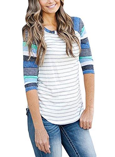 iGENJUN Women's 3/4 Sleeve Stripe Floral Casual Knit Top Blouse,XXL,Floral-1 (Sleeve Knit 3/4 Stripe Top)