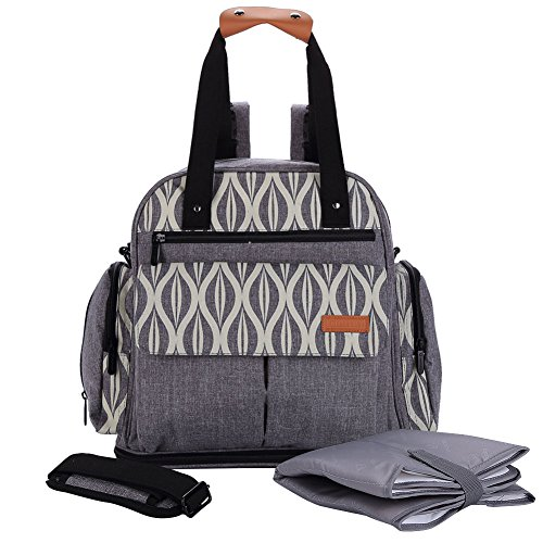 Lekebaby Expandable Diaper Bag Backpack Tote Messenger Bag for Mom and Girl in Grey